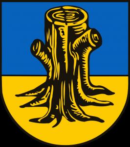 Rhader Wappen. Baumstumpf auf blauem und gelben Grund.
